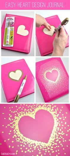 Gold Sharpie Heart Design on Journal by Club Chica Circle. - Gold Sharpie Heart Design on Journal by Club Chica Circle. Gold Sharpie Heart Design on Journal by Club Chica Circle. Fun Crafts, Diy And Crafts, Crafts For Kids, Gold Sharpie, Sharpie Crafts, Sharpies, Diy School Supplies, Diy Supplies, Diy Art