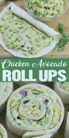 Chicken Avocado Salad Roll Ups are great appetizers for a party, healthy lunch for kids or light and easy dinner for whole family. Great way to pack some nutritious avocado into your diet. dinner recipes healthy Chicken Avocado Salad Roll Ups Healthy Lunches For Kids, Good Healthy Recipes, Healthy Chicken Recipes, Healthy Dinner Recipes, Appetizer Recipes, Healthy Eating, Cooking Recipes, Healthy Easy Food, Healthy Lunch Wraps