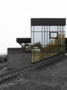 """Modern house on the hill with spectacular view in Lithuania designed by """"Studija lape"""" architects."""