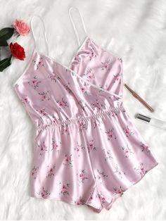 Floral Satin Romper - Light Pink M Cheap Lingerie, Sewing Lingerie, Cute Lingerie, Bridal Lingerie, Sexy Pajamas, Cute Pajamas, Pyjamas, Pajama Outfits, Cute Outfits