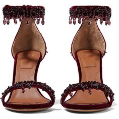 Givenchy Crystal-embellished sandals in burgundy velvet ❤ liked on Polyvore featuring shoes and sandals