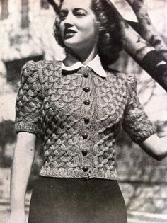 Big Band Baby- 40s Glamour- Quick Knit Australian knitting ePattern b32 b34 b36 short sleeved cardigan