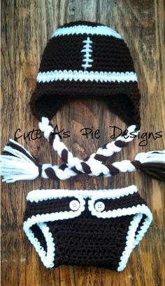 Football Earflap Crocheted Hat and Diaper Cover