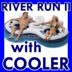 River Run Inflatable Inner Tube Lake/Pool Float +Cooler