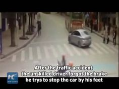 An unskilled driver forgot all about the car's brake mechanism and turned to his feet after his car crashed with a passing bus in Xishui, South China's Guizhou province.