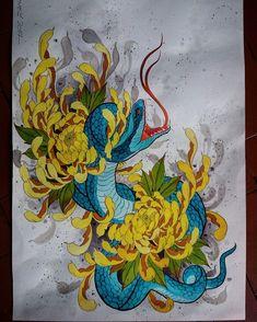 Emo Tattoos, Asian Tattoos, Flor Oriental Tattoo, Crisantemo Tattoo, Chrysanthemum Tattoo, Tattoo You, Snake Art, Japan Tattoo, Snake Tattoo