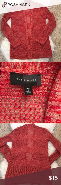 {The Limited} Loose Knit Cardigan {The Limited} Loose Knit Cardigan. Size: XS. Colors: red/orange/tan marbled mix. Draped open front. 100% cotton. In excellent condition. The Limited Sweaters Cardigans