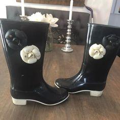 d7a0ebac2 CHANEL Shoes | Auth. Chanel Camellia Black Rain Boots 38 $700 | Color: Black