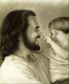 Love this image ... child touching Jesus' nose!