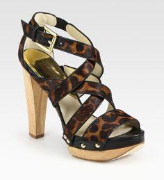 Ariana Leopard-print Calf Hair & Leather Platform Sandals - Lyst