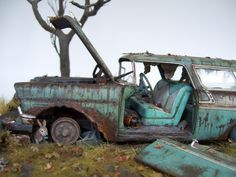 Build and beat up Revell's scale 1956 Chevy Nomad Abandoned Cars, Abandoned Places, Abandoned Vehicles, Abandoned Buildings, Rust Never Sleeps, Chevy Nomad, Automobile, Rust In Peace, Train Truck