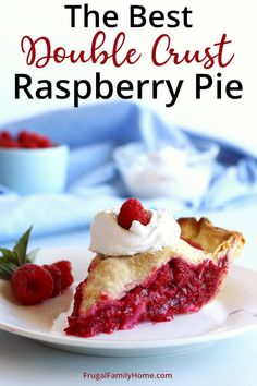 We love this simple and easy raspberry pie. And this recipe includes the pie crust recipe too. It's the best raspberry pie I've made. So simple with only a few ingredients. It's the perfect homemade pie recipe that is diary free and vegan too. Even if you've never made homemade pie, you can make this pie recipe. Raspberry Desserts, Vegan Desserts, Delicious Desserts, Apple Dessert Recipes, Pie Recipes, Baking Recipes, Homemade Pie, Homemade Desserts, Pie Dessert