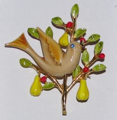 Vintage Art Partridge in A Pear Tree Enameled Goldtone Brooch Pin Christmas | eBay