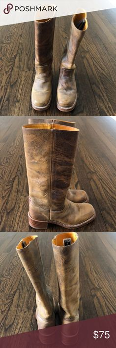 Frye Boots - Distressed Leather in Tan. Size 6 1/2 Frye Boots - Distressed Leather in Tan. Size 6 1/2 Gently used. Minor scuffs. Do not still have original box. Frye Shoes Heeled Boots