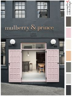 black storefront with blush pink doors, pink and black, dark bronze, dusty rose, millennial pink, ivory, light copper, charcoal gray, warm gray, black, glass globe wall sconces, restaurant entrance, pantone ballet slipper