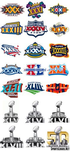 Every Super Bowl logo from XXX-L (30-50)