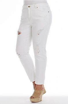 White Denim Jean - Style No: White ankle length denim jeans. This stunning white jean features multiple leg rips in the ankle-length legs. A divine addition to your summer wardrobe!