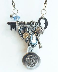 "Buffalo, NY Necklace - ""Charmed"" with skeleton key and repurposed costume jewelry charms, locket, cameo"