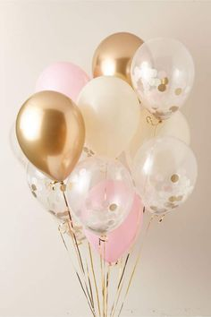 New View Bubblegum Balloons Confetti Party Balloons Bridal Shower Balloons, Gold Bridal Showers, Bridal Shower Decorations, Birthday Party Decorations, Balloon Decorations Party, Wedding Decorations, 18th Birthday Party, Girl First Birthday, Gold Birthday