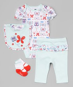 Blue Butterflies Bodysuit Set - Infant #zulily #zulilyfinds