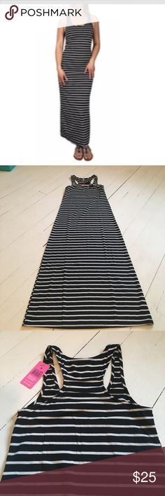 Striped Black & white racer back maxi dress Brand new with tags, perfect summer maxi dress.  Lightweight, pullover style.  Black & white striped.  Goes with everything, dress up or down easily.  Super comfortable! Dresses Maxi