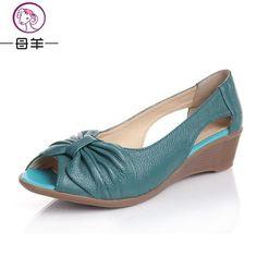 Fashion 2015 New Summer Shoes Woman Open Toe Shoes Women Genuine Leather Wedge Sandals Platform Sandals Women Sandals