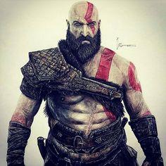 Mais uma arte sensacional do nosso fã @kristopher.art. #kratos #playstation #fanart Siga a gente no Snap  legiaodosherois