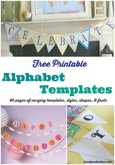 Create festive decor in minutes with these free printable templates. Includes three full alphabets sets in different fonts, styles, shapes and more. Over 90 pages of printables in one, free PDF!