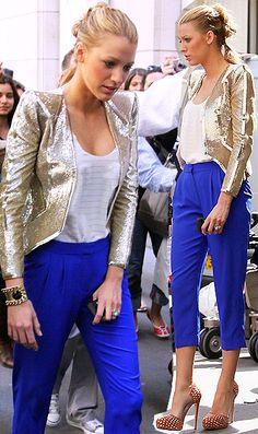 Gold Emilio Pucci 2010 blazer tibi cropped blue pants louboutins Serena van der Woodsen in Paris