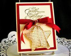 Christmas Card Handmade  Joy to the World on Shabby Chic Star