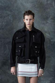 Model in mini skirt