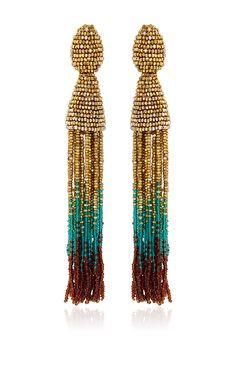 Ombre Beaded Tassel Earrings by Oscar De La Renta - Preorder now on Moda Operandi
