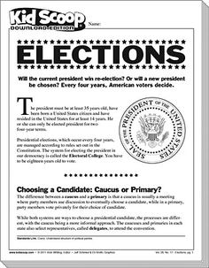 Teaching children about political parties, elections and positions of candidates helps ensure that future generations will maintain and preserve democratic structures. There's no better time than a presidential election year to get young citizens engaged in how democracy works. It may appear that votes simply cast a ballot on election day, but the road from candidacy to presidency can be complicated to explain. This edition of Kid Scoop makes it easy to understand the process of selecting…