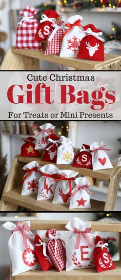 Love these cute mini christmas gift or treat bags. Perfect for small present, treats or favors. Cute idea! #christmas #giftbag #favorbag #afflink