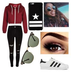 Inspired by Liza Koshy by maya-hopman on Polyvore featuring polyvore fashion style adidas Givenchy Ray-Ban clothing