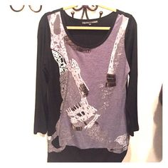 Modern black and gray knit tunic Modern gray and black knit tunic with handpainting and silver stud detail Clothes Head Tops Tunics