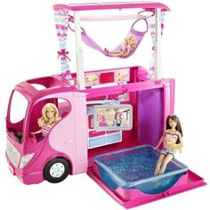 Mattel Barbie CAMPER Barbie and her sisters are ready to go on the ultimate camping trip in the new family camper! Mattel Barbie, Barbie Camper, Camping Car Barbie, Barbie Doll Set, Barbie Doll House, Camper Van, Barbie Van, Little Girl Toys, Toys For Girls