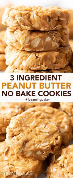 Oatmeal No Bake Cookies, Healthy No Bake Cookies, Peanut Butter Oatmeal Bars, Peanut Butter No Bake, Peanut Butter Snacks, Easy Cookie Recipes, Baking Recipes, Dessert Recipes, Easy Peanut Butter Recipes