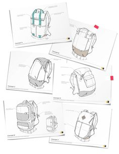 Utilitarian rolltop and rucksack shaped bags with modern color blocking and easily accessible storage to support the urban commuter. - by RYAN MATHER Flat Sketches, Cool Sketches, Sketch Design, Bag Design, Design Lab, Design Concepts, Bag Illustration, Industrial Design Sketch, Retro Logos