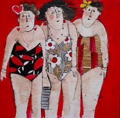 Cécile Colombo, Les trois copines au soleil Old Lady Humor, Graphic Novel, L'art Du Portrait, Canvas Painting Tutorials, Abstract Watercolor Art, Art En Ligne, Funky Art, Art Themes, Beach Girls
