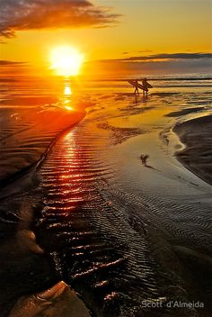 """SUNRISE SURFERS"" by Scott d' Almeida -Two Surfers Greet The Rising Sun At Jan Juc Beach In Torquay, AUSTRALIA. -ShazB"