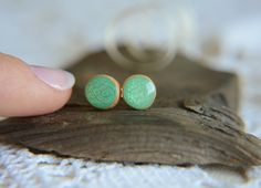 Small round studs with sterling silver posts hand by MyPieceOfWood