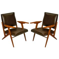 "Pair of ""Z"" line chairs by Jose Zanine Caldas ca1960's, Brasil"