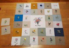 너무나 좋아하고 존경하는 아오키 가즈코님의 꽃자수중 32컷을 골라 만든 바란스~^^ 중심에는 책 표지의 꽃...