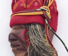 Vintage American Indian Pin with Felt Headdress War Paint Antique Americana Folk Art Native Jewelry