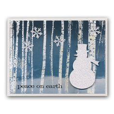 Punched Glitter Snowman Winter Christmas Card