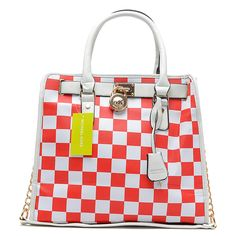 Perfect Michael Kors Hamilton Checkerboard Large Red Totes, Perfect You