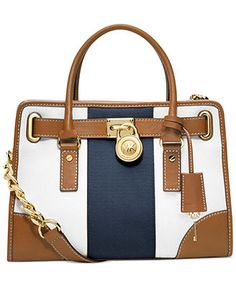 MICHAEL Michael Kors Hamilton Mono Stripe Satchel  SERIOUSLY! how adorable is this! Yes I Want One!