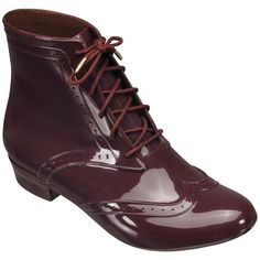 Melissa Shoes Kissing - Burgundy (€87) ❤ liked on Polyvore featuring shoes, boots, melissa, women, melissa shoes, flat shoes, lacing boots, burgundy boots and lace up boots