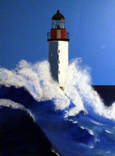 Peinture acrylique: Phare dans la tempête : Peintures par acryl-art